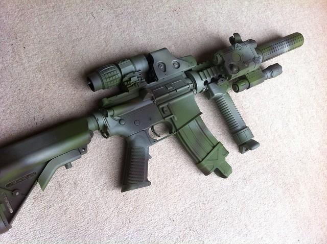 M4 in woodland camo