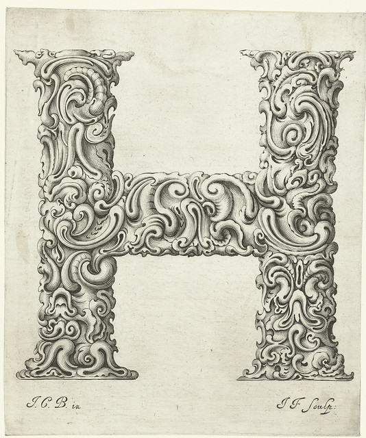 Letter 'H' - fantasy foliage letterform - 17th century engraving
