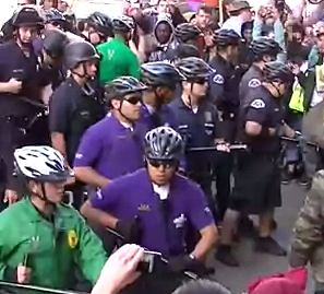 Purple shirts and lapd occupy