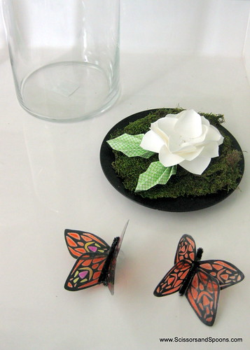 DIY Butterfly Jar Adding Leaves