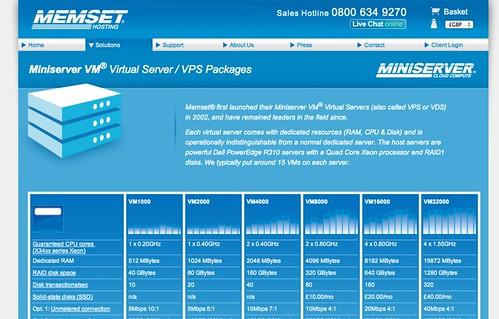 Memset Miniserver VPS offerings