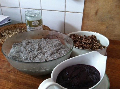 Raw Breakie, chiaseed, blueberry jam, raw granola