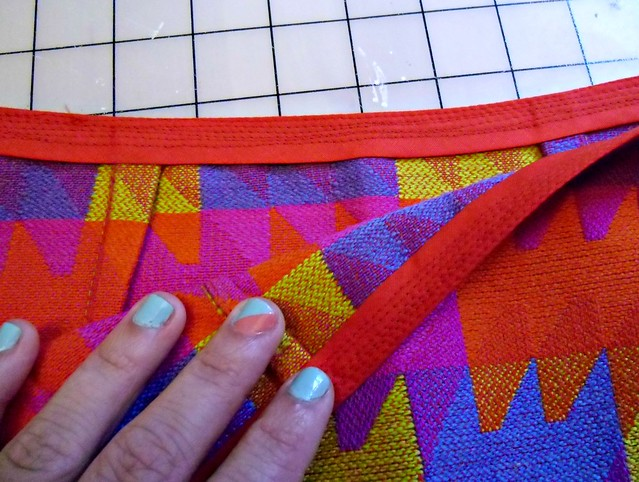 Skirt - crazy stitching at waistband