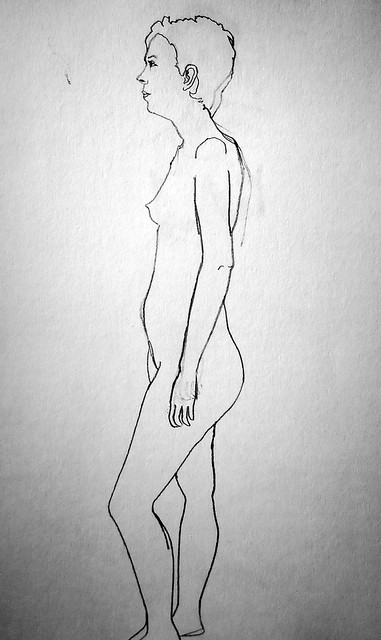 Outline of a cropped-haired young woman in profile