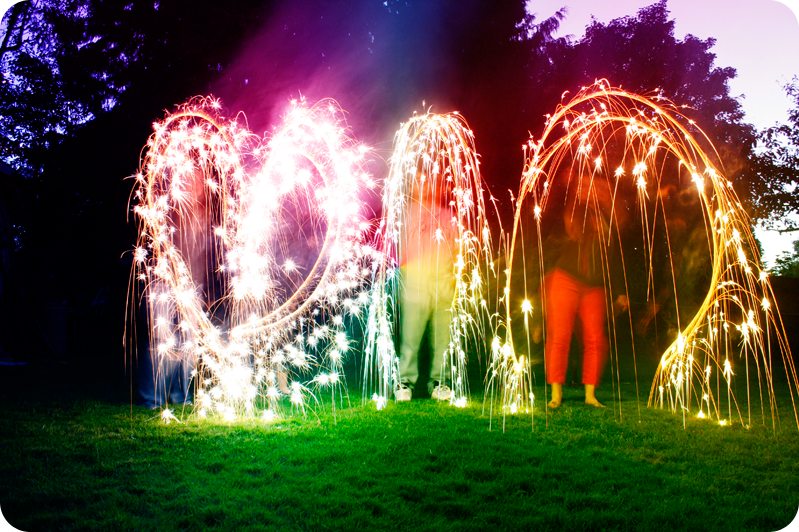 {sparklers} into hearts