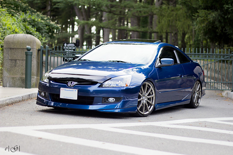 blue 6th gen honda accord coupe with hfp wheels front quarter view