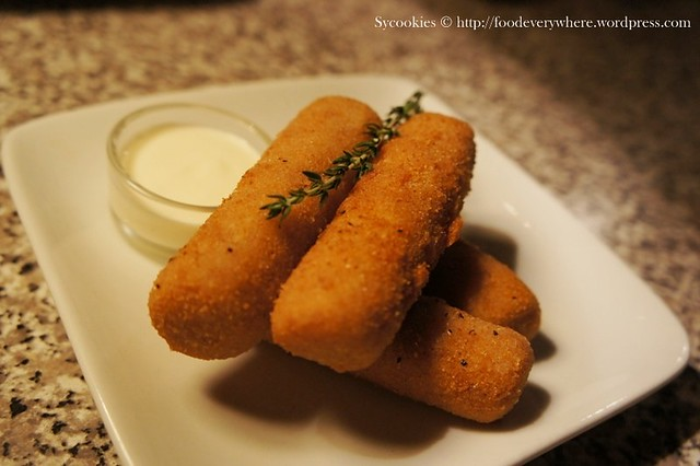 7.Croquettes RM 9.09- Fried mashed potatos filled with salami, mozzarella and sprinkled with parsley .
