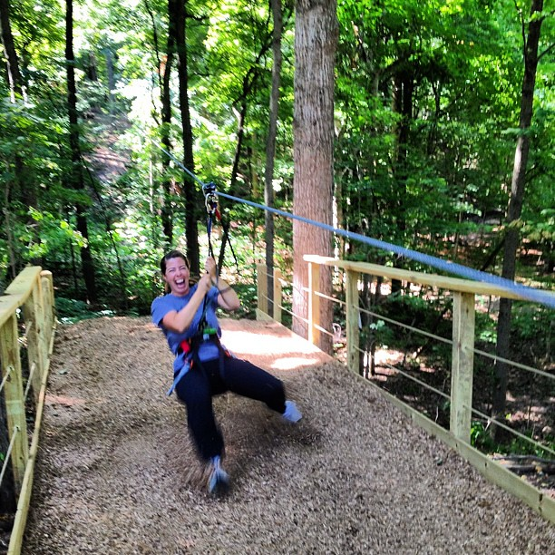 The most awesome face I've ever made, courtesy of the @GoApe zip line.