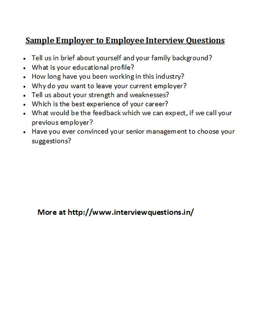 sample employer to employee interview questions