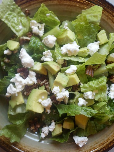 Salad of Romain hearts with goat cheese, spiced pecans and avocado