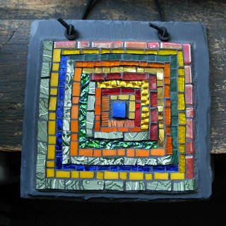 Log Cabin Quilt Block in Glass by Margaret Almon