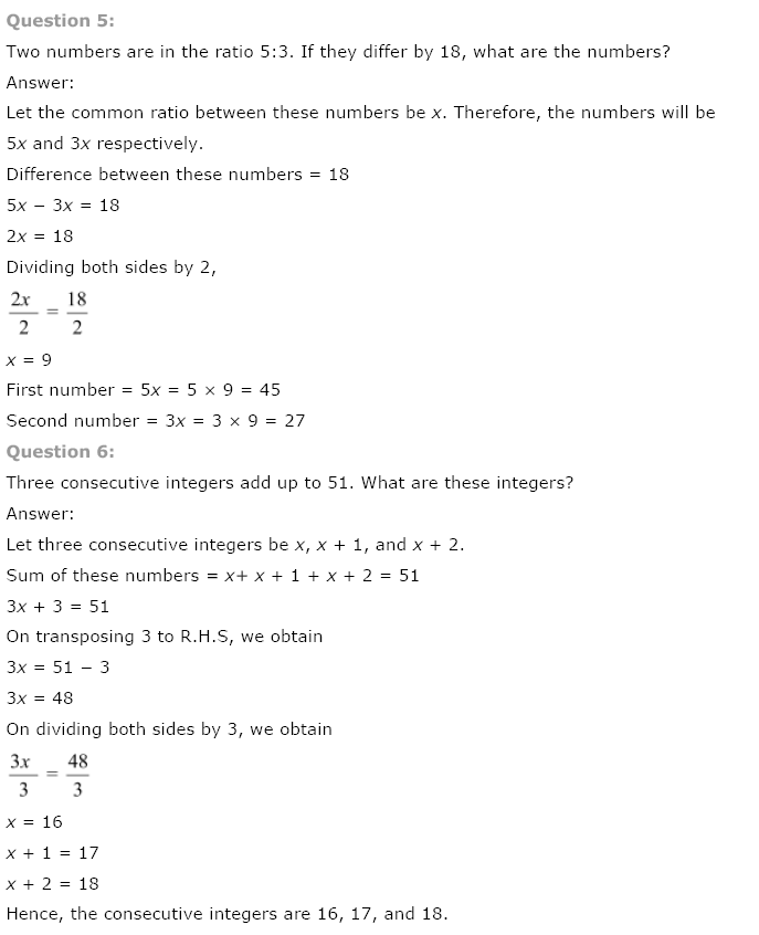 NCERT Solutions for Class 8 Maths Chapter 2 Linear Equations in One ...