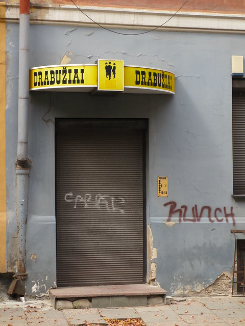 Drabu.iai, clothing store sign, Vilnius, Lithuania