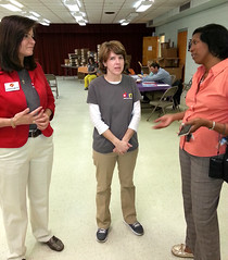 Jan Kavookjian, Amie Hardin and Leslie Clark discuss the diabetes education project. Clark, an Alabama Cooperative Extension System county agent with Tuskegee University, served as one of the community advocates.