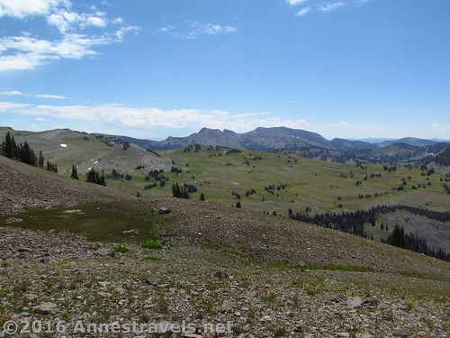 Views from Fossil Mountain over the meadows of Grand Teton National Park, Jedediah Smith Wilderness, Wyoming