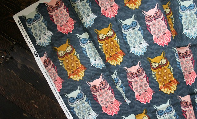 Bird of Night in Slate Owl Fabric