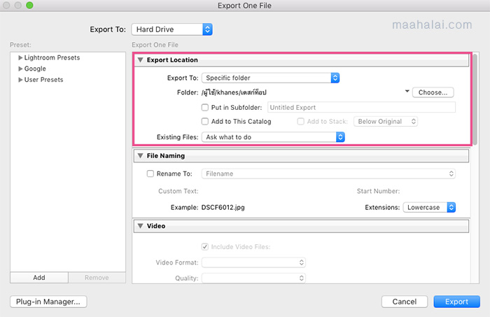 Lightroom Export Image File
