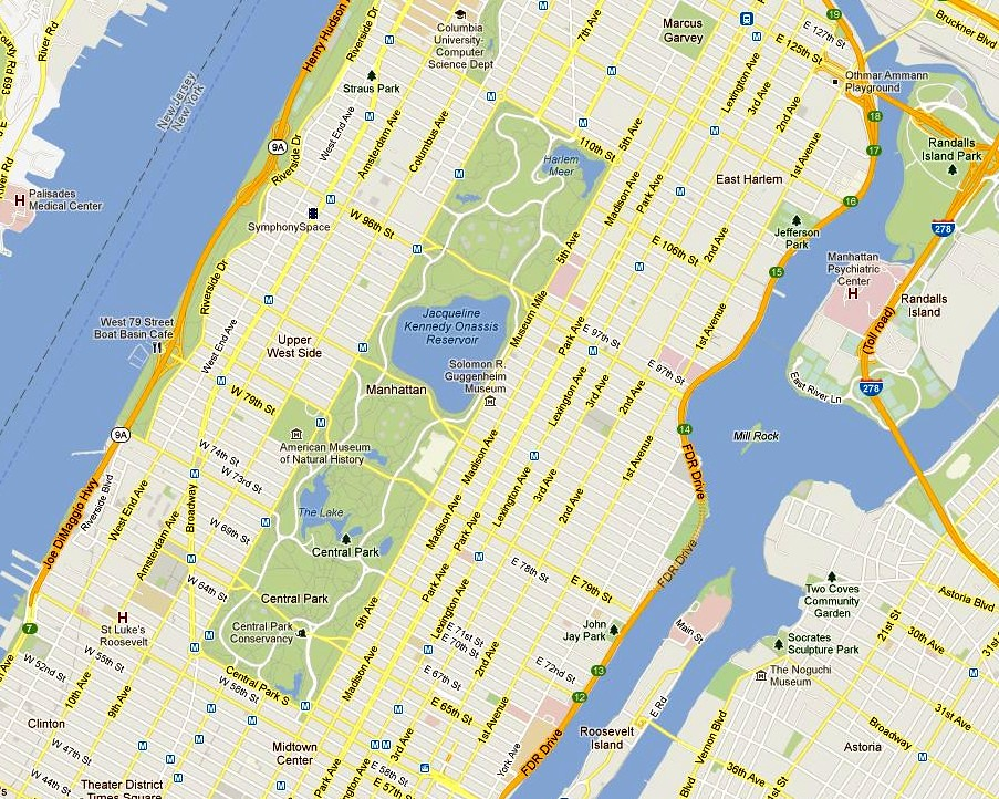 Central Park Map New York City Courtesy Of Google Maps Flickr