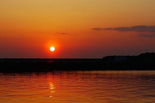柏崎中央海岸の夕日 (12)