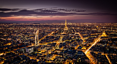 The roof of Paris at night