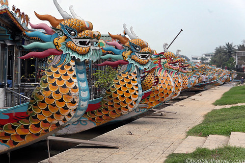 Returning to Huế; dragon boats all in a line