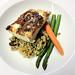 Alaskan halibut on quinoa
