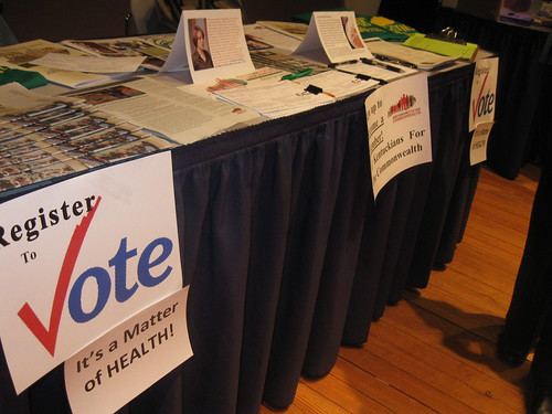 Voter Reg booth at HCTC