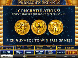 Pharaoh's Secrets Bonus Game
