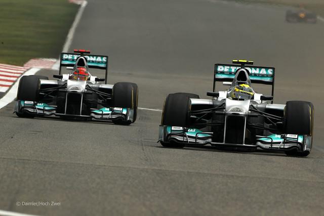 Nico Rosberg Michael Schumacher Mercedes W03 F1 Chinese GP