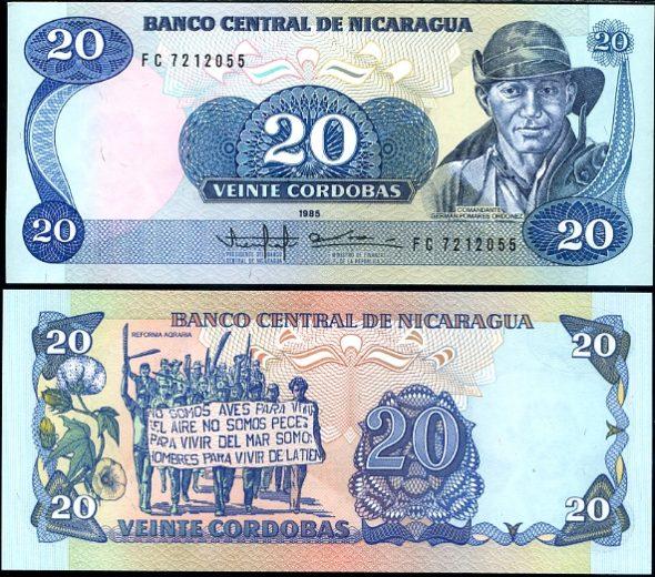 20 Cordobas Nikaragua 1985, Pick 152