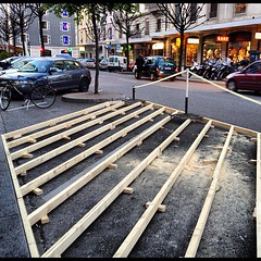 In Geneva, parking spaces are turned into public spaces.