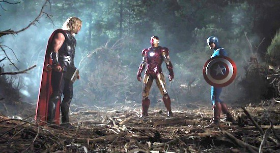 Chris Hemsworth, Robert Downey Jr, and Chris Evans clash the titanium in THE AVENGERS.