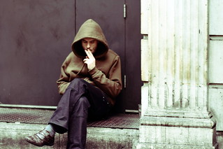 Hooded smoker, Covent Garden, 5 May 2012
