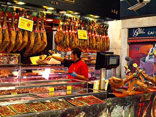 Jamon stall boqueria Market, Barcelona