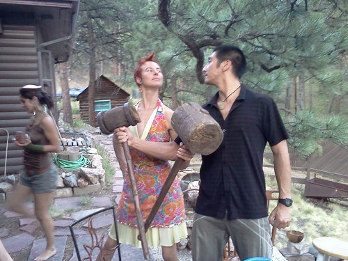 Joe and Jasmine try out their antique circus mallets