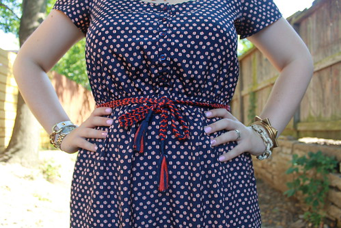 4th of July Outfit: Nautical dress with rope belt from Target, modcloth red and white striped peep-toe shoes, pavé cable bracelet from J.Crew, etc.