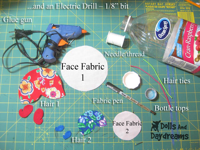 Doll Pin Cushion Tutorial Pattern supplies