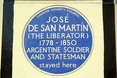 Photo of José de San Martín and Jose de san Martin blue plaque