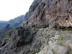 Sur la fin de la vire du Tafonatu vers Campu di Vetta après le virage du lariciu