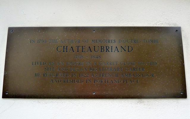 François-René de Chateaubriand brass plaque - In 1793 the author of