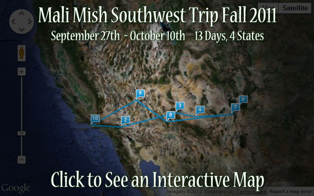 Fall 2011 Road Trip Map of the Southwest