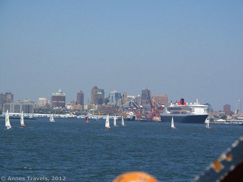 The Queen Mary II docked in New York Harbor