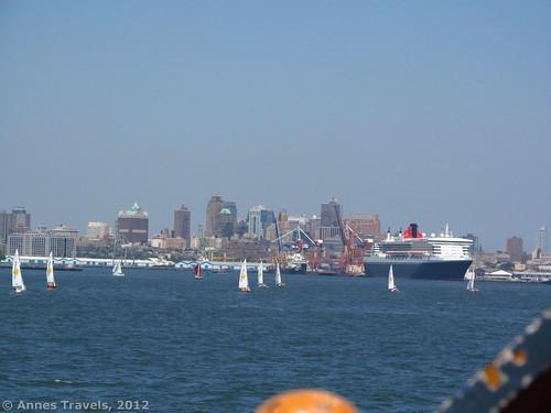 The Queen Mary II docked in New York Harbor
