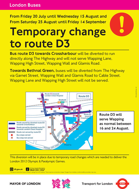 D3 bus diversion during the Olympics