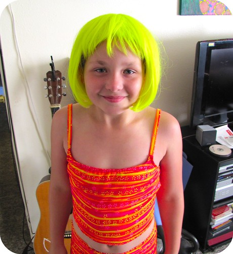 Sadie in the neon wig