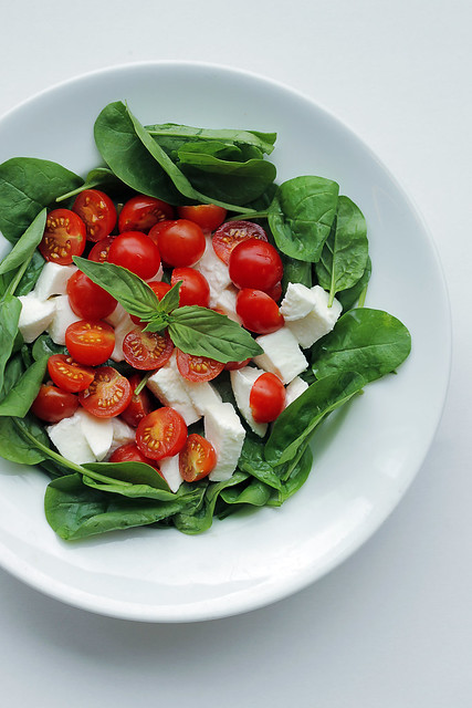 Mozzarella, Tomatoes and Spinach
