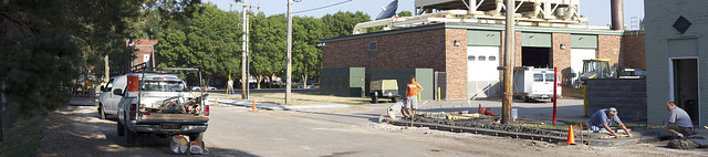 Berrien Street Construction Panorama. Check out a higher resolution version of the photo at http://goo.gl/vgSIV to check out some of the details of the work on Berrien Street. Photo by John Williams