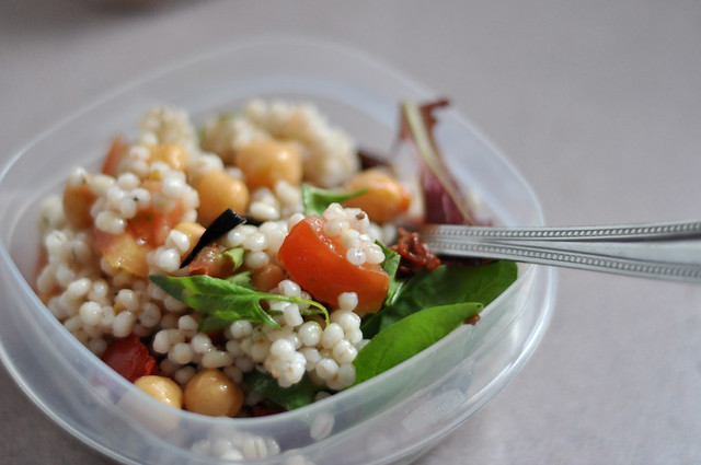 chickpeas in my pearl barley salad