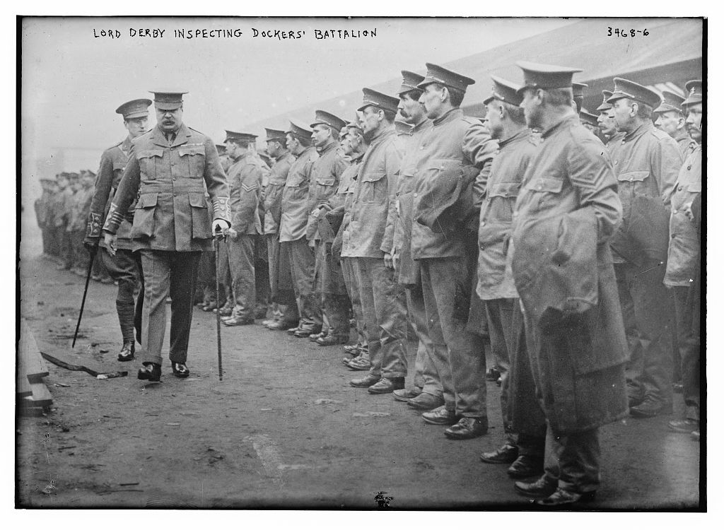 Lord Derby inspecting Dockers' Battalion  (LOC)