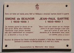 Photo of Simone de Beauvoir  and Jean-Paul Sartre white plaque
